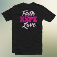 Faith Hope Ribbon Love-Distressed Twill w Stitching